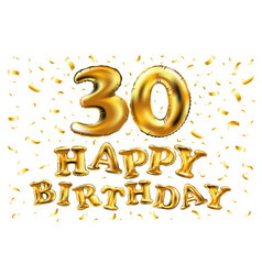 30th birthday celebration with gold balloons and vector image vector image