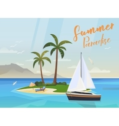 Ocean Island with palm trees and yacht or ship vector image vector image