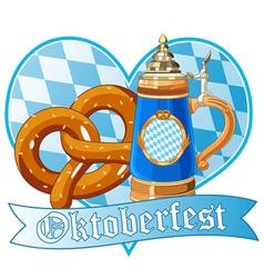 Oktoberfest pretzel and mug vector image vector image