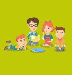 teacher reading a book for kids in kinder garden vector image vector image