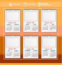 2020 calendar orange colour vector image