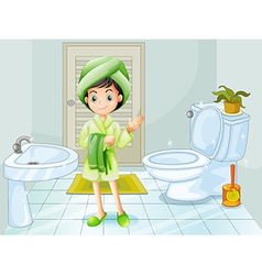 A fresh young girl at the bathroom vector