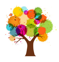 abstract abstract colorful tree with splashes vector image