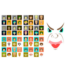 Assembly of flat icons on theme evil faces vector