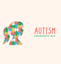 Autism awareness day paper cut puzzle kid banner vector