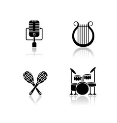 band musical instruments drop shadow black glyph vector image