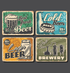 beer brewery retro posters alcohol drinks bar vector image