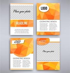 Big set of orange triangular design flyer template vector