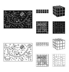 board game blackoutline icons in set collection vector image