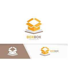 book and box logo combination package and vector image