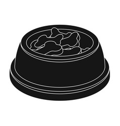bowl with foodpet shop single icon in black style vector image