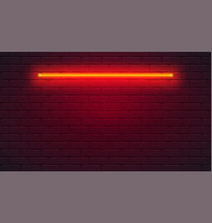 brick wall is lit neon lamp neon light vector image
