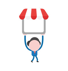 Businessman character walking and holding up shop vector