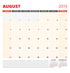 Calendar planner template for august 2019 week vector