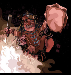 Cartoon male shaman dancing at night by the fire vector