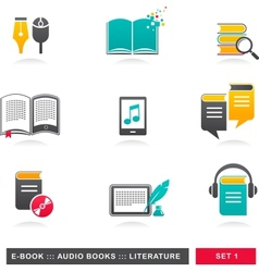 Collection e-book audiobook and literature vector