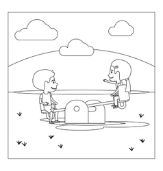 Coloring page with kids on playground vector image