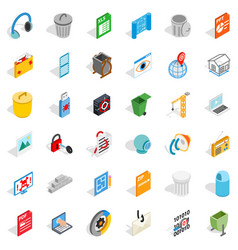Computer part icons set isometric style vector