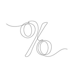 Continuous one line percent sign stock vector