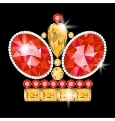 Crown brooch vector