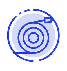 Curved flow pipe water blue dotted line line icon vector