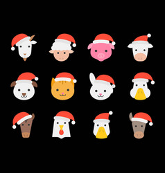 cute farm animal wearing christmas santa hat flat vector image