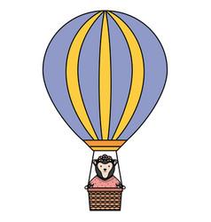 cute female monkey in balloon air hot vector image