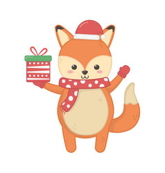 cute fox with hat and gift merry christmas vector image