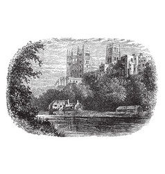 Durham cathedral from the wear vintage vector