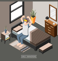 early awakening isometric background vector image