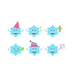Emoji snowflake set vector