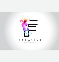 f vibrant creative leter logo design with vector image