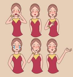 facial expressions set woman girl vector image