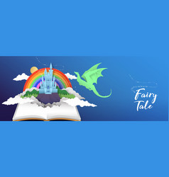 Fairy tale book banner papercut castle and dragon vector
