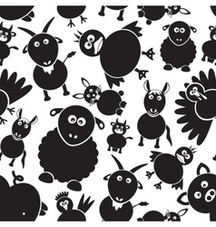 Farm animals simple black and white seamless vector