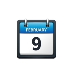 February 9 Calendar icon flat vector image
