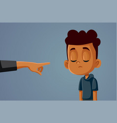 Finger pointing at young african boy vector