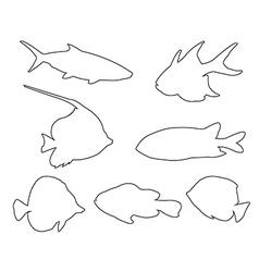 fish set path on white background vector image