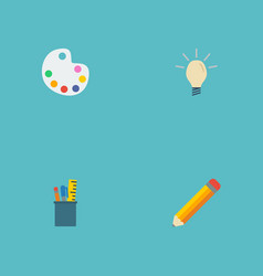 flat icons concept pen artist and other vector image vector image