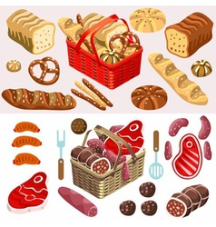 Food Set Meat and Bread Isometric vector