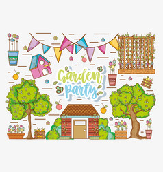 garden party cartoons vector image