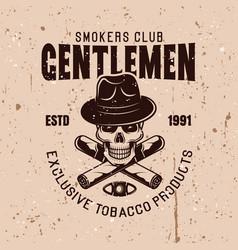 gentlemen smokers club emblem with skull vector image