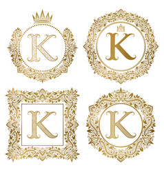 Golden letter k vintage monograms set heraldic vector