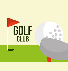 golf club ball and red flag field sport vector image