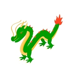 Green chinese dragon icon isometric 3d style vector image