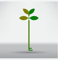 Green eco key icon vector