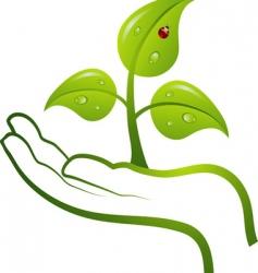 green life in hand vector vector image