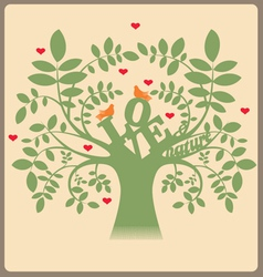 Green tree with love message and doves vector image