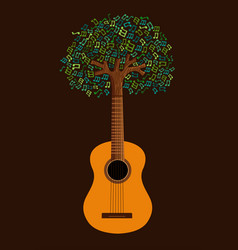 Guitar tree live music nature concept vector