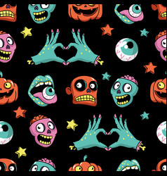 halloween seamless pattern in cartoon comic style vector image